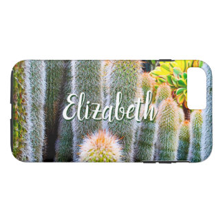 Chic, fuzzy orange & green cacti photo custom name iPhone 8 plus/7 plus case