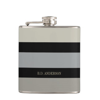 CHIC GENTLEMAN'S FLASK_ BOLD NEUTRAL STRIPES/NAME HIP FLASK