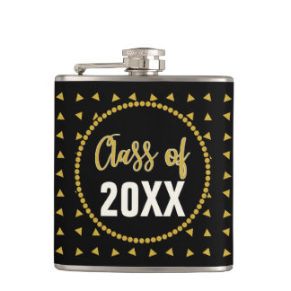 Chic Geometric Black Gold Graduation Class Reunion Hip Flask
