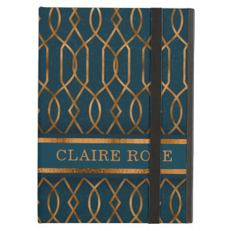 Chic Geometric Teal Gold Lattice Pattern Cover For iPad Air