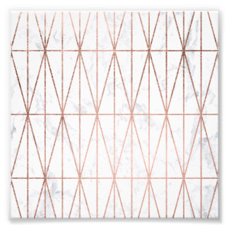Chic geometric triangles rose gold white marble photo print