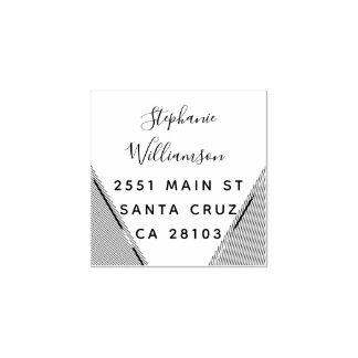 Chic Geometric Wedding Return Address Rubber Stamp