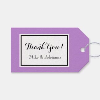 "CHIC GIFT TAG_""Thank You!"" MODERN  WHITE/LAVENDER Gift Tags"