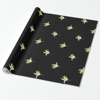 Chic Giftwrap, Lilies of the Valley on Black Wrapping Paper