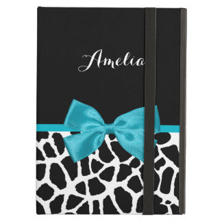 Chic Giraffe Print Aqua Blue Ribbon Bow With Name iPad Air Cases