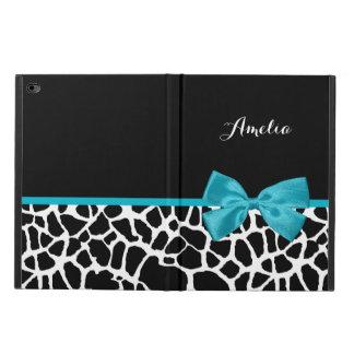Chic Giraffe Print Aqua Blue Ribbon Bow With Name Powis iPad Air 2 Case