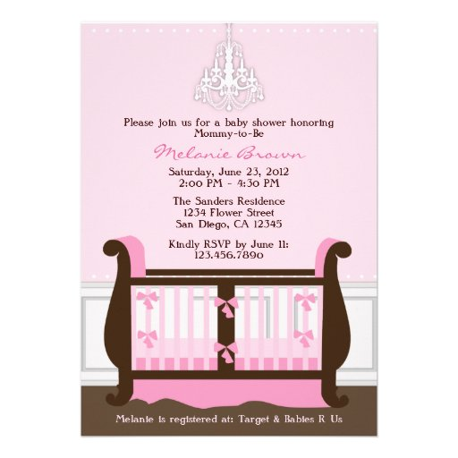 Chic Girl Pink Nursery Decor Baby Shower Invite