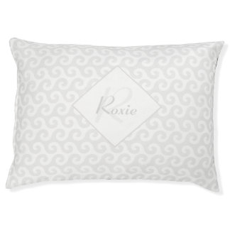 Chic Girl's Monogram with Silver & White Waves