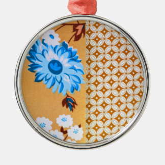 Chic Girly Brown Floral Quatrefoil Pattern Silver-Colored Round Decoration