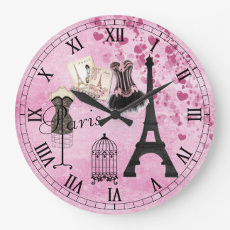Chic Girly Pink Paris Fashion Clock