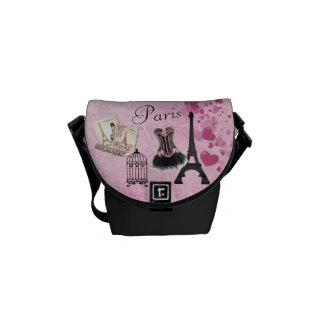 Chic Girly Pink Paris Vintage Romance Messenger Bag