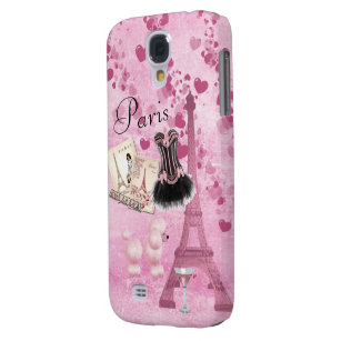 Chic Girly Pink Paris Vintage Romance Samsung Galaxy S4 Cover