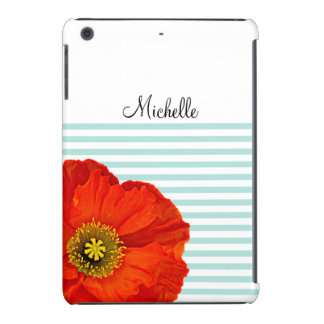 Chic Girly Red Poppy Mint Stripes Personalized iPad Mini Retina Case