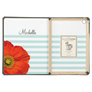 Chic Girly Red Poppy Mint Stripes Personalized iPad Air Cover