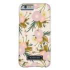 Chic Girly Retro Floral Lilac & Peach Personalised Barely There iPhone 6 Case
