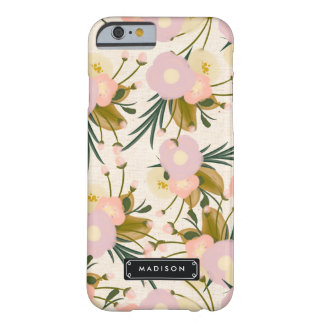Chic Girly Retro Floral Lilac & Peach Personalized Barely There iPhone 6 Case