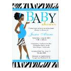 Chic Glam Modern Mum Blue Zebra Baby Shower Card
