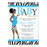 Chic Glam Modern Mum Blue Zebra Baby Shower 13 Cm X 18 Cm Invitation Card