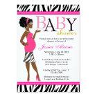 Chic Glam Modern Mum Pink Zebra Baby Shower Card