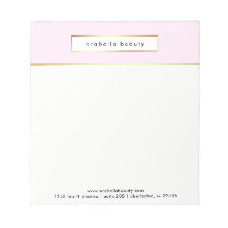 Chic Glam Pink and Faux Gold Business Notepad