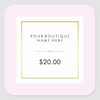Chic Glam Pink and Gold Retail Price Tag Square Sticker