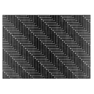 CHIC GLASS CUTTING BOARD_BLACK/GREY/WHITE ZIGZAG CUTTING BOARD