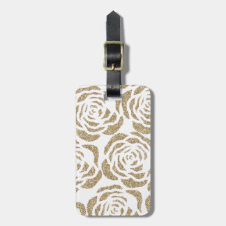 Chic Glitter Gold Roses White Floral Luggage Tag
