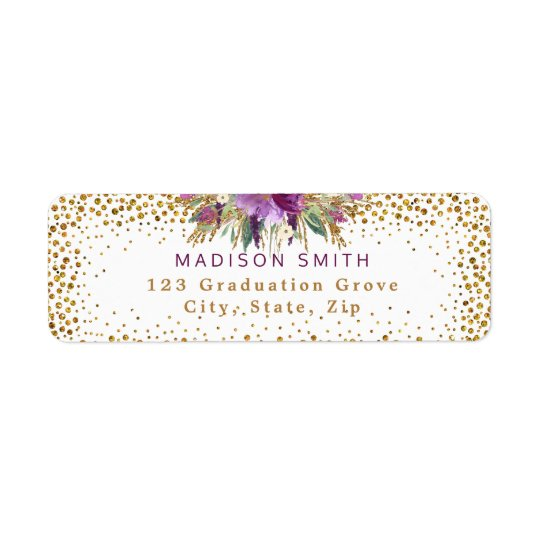 Chic Glitter Watercolor Flowers Gold Confetti Return Address Label