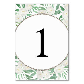 Chic Glitter Watercolor Flowers Table Number Cards