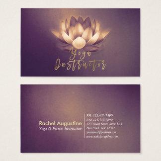 Chic Glowing Lotus & Purple Grunge Yoga Instructor Business Card
