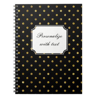 Chic Gold and Black Dots Spiral Notebook