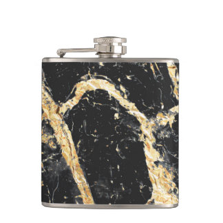 Chic Gold and Black Marble Pattern Hip Flask