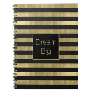 Chic Gold and Black Stripes Dream Big Personalized Notebooks