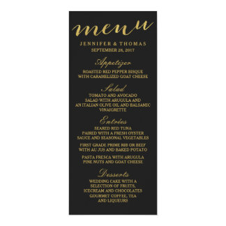 Chic Gold and Black Wedding Menu 4x9.25 Paper Invitation Card
