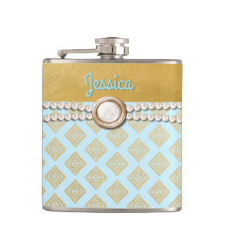 Chic Gold and Blue Bridesmaid Custom Flask