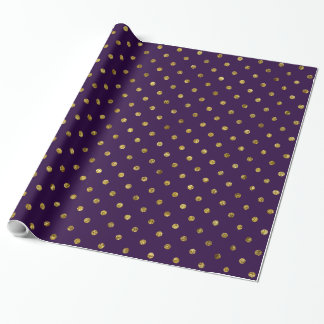 Chic Gold and Purple Glam Polka Dots Wrapping Paper