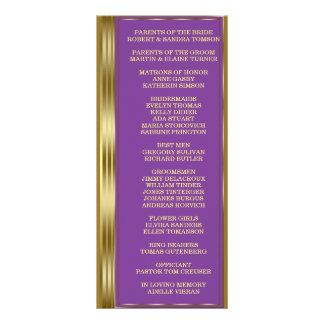 Chic Gold and Royal Purple Wedding Custom Program Rack Card