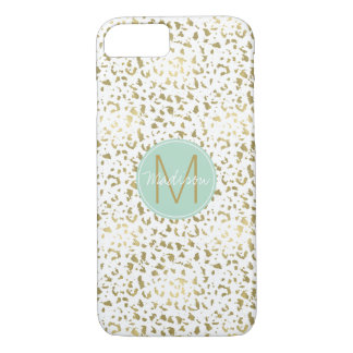 Chic Gold and White Animal Print Monogram iPhone 8/7 Case
