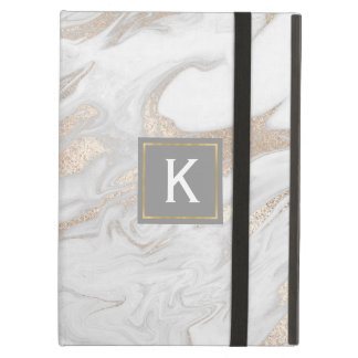 Chic Gold and White Faux Marble iPad Air Case