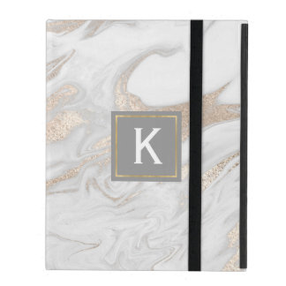 Chic Gold and White Faux Marble iPad Case