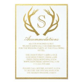 CHIC GOLD   ANTLER WEDDING ACCOMMODATION CARD 9 CM X 13 CM INVITATION CARD