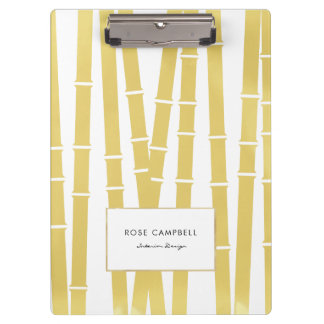 Chic Gold Bamboo Grove Personalized Clipboard