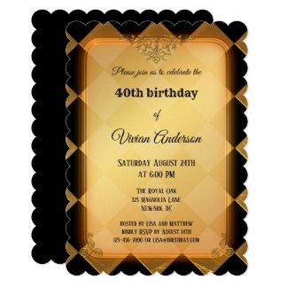 Chic Gold Black Chequered Birthday Invitation