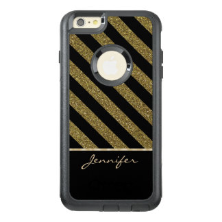Chic Gold Black Stripe Sparkle Personalized OtterBox iPhone 6/6s Plus Case