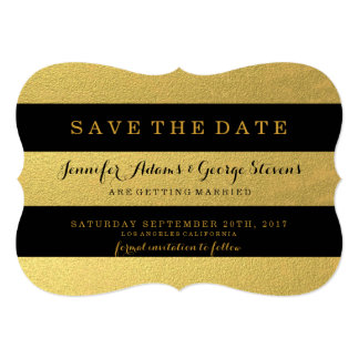 CHIC GOLD | BLACK STRIPES SAVE THE DATE 13 CM X 18 CM INVITATION CARD