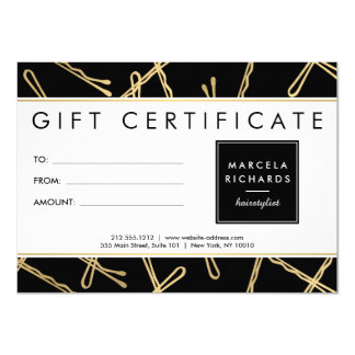 Chic Gold Bobby Pins Hair Salon Gift Certificate 11 Cm X 16 Cm Invitation Card