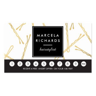 Chic Gold Bobby Pins Hair Salon Loyalty Card Pack Of Standard Business Cards