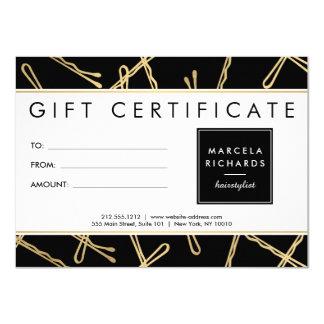 Chic Gold Bobby Pins Hair Stylist Black Gift Card 11 Cm X 16 Cm Invitation Card