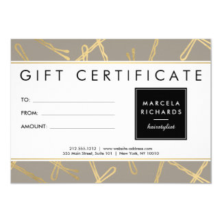 Chic Gold Bobby Pins Hair Stylist Gray Gift Card