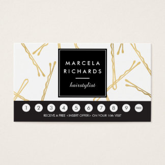 Chic Gold Bobby Pins Hair Stylist Loyalty Card